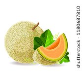 melon whole and a piece with... | Shutterstock .eps vector #1180687810