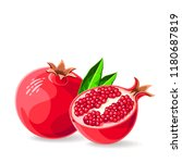 pomegranate whole and a piece... | Shutterstock .eps vector #1180687819