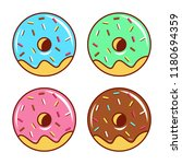 donuts cartoon set with pink... | Shutterstock .eps vector #1180694359