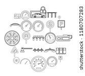 asphalt icons set. outline set...   Shutterstock .eps vector #1180707283