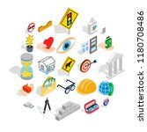 worry icons set. isometric set... | Shutterstock .eps vector #1180708486