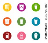 waste matter icons set. flat... | Shutterstock .eps vector #1180708489