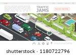 isometric traffic jam web page... | Shutterstock .eps vector #1180722796