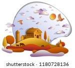 farm in scenic autumn landscape ...   Shutterstock .eps vector #1180728136