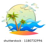 beautiful seascape with sea...   Shutterstock .eps vector #1180732996