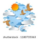 birds flying in the sky among... | Shutterstock .eps vector #1180735363