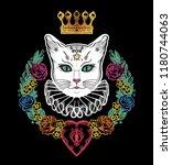black cat silhouette portrait | Shutterstock .eps vector #1180744063