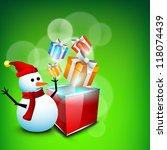 happy snowman wearing santa hat ... | Shutterstock .eps vector #118074439