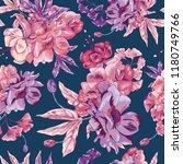 pink poppy seamless vector...   Shutterstock .eps vector #1180749766