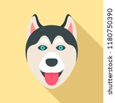 husky dog head icon. flat... | Shutterstock .eps vector #1180750390
