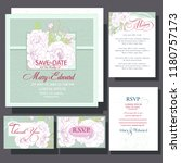 wedding invitation with white...   Shutterstock .eps vector #1180757173