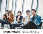 group of young teen using smart ... | Shutterstock . vector #1180784113