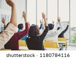 group of business people raise... | Shutterstock . vector #1180784116