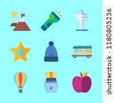 9 nature icons set | Shutterstock .eps vector #1180805236