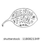 hello fall lettering in hand... | Shutterstock .eps vector #1180821349