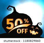 pumpkin silhouette on dark blue ... | Shutterstock .eps vector #1180829860
