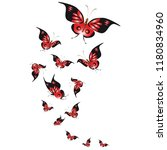 Stock photo silhouette beautiful butterflies isolated on a white 1180834960