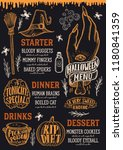 halloween menu with holiday... | Shutterstock .eps vector #1180841359
