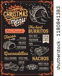 christmas menu template for... | Shutterstock .eps vector #1180841383
