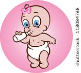 baby girl drinking milk from... | Shutterstock .eps vector #118084768