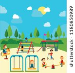 play ground drawing children... | Shutterstock . vector #1180850989