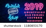 barber shop logo neon sign ... | Shutterstock .eps vector #1180853170