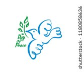 day of peace. vector dove with...   Shutterstock .eps vector #1180858636