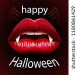 happy halloween  red female... | Shutterstock .eps vector #1180861429