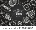 fast food sketch collection.... | Shutterstock .eps vector #1180863433