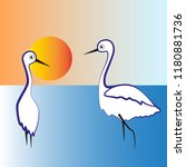 two white herons stand in the... | Shutterstock .eps vector #1180881736