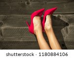 woman's feet isolated in red...   Shutterstock . vector #1180884106