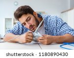 frustrated young man due to... | Shutterstock . vector #1180890430