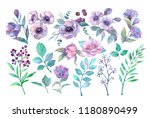 spring foliage and flowers.... | Shutterstock . vector #1180890499