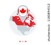 canada map and flag  vector map ... | Shutterstock .eps vector #1180894513