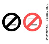 tablet ban  prohibition icon....