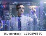 businessman pressing virtual... | Shutterstock . vector #1180895590