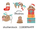 cute lazy sloths  funny merry... | Shutterstock .eps vector #1180896499