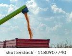combine harvester unloader... | Shutterstock . vector #1180907740