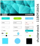 light blue  green vector ui kit ...