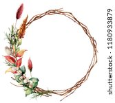 watercolor wreath with leaves... | Shutterstock . vector #1180933879