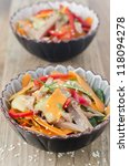 Two servings of salad with peppers, cucumber and beef tongue - stock photo