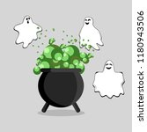 happy halloween. witch cauldron ... | Shutterstock .eps vector #1180943506