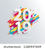 creative happy new year 2019... | Shutterstock .eps vector #1180947649