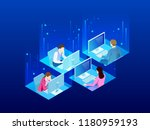 four isometric office workers... | Shutterstock . vector #1180959193