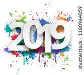 happy new year 2019 celebration ... | Shutterstock .eps vector #1180964059