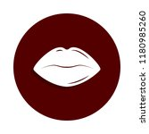 lips icon in badge style. one...