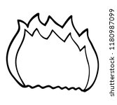 line drawing cartoon blue flame | Shutterstock . vector #1180987099