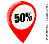 50 percent off on glossy red... | Shutterstock . vector #1180993459