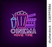 cinema neon sign. night movie... | Shutterstock .eps vector #1180995886