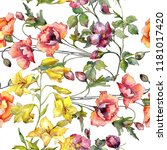 watercolor colorful bouquet of... | Shutterstock . vector #1181017420